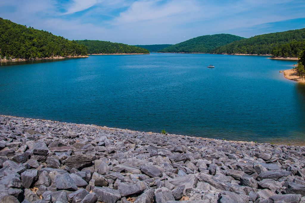 Lake Ouachita shore with blue water
